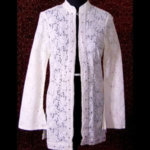 TRUE MEANING Ivory eyelet boho blouse jacket S/M